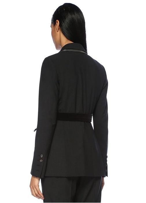 Füme Yakası Zincirli Kadife Kuşaklı Kruvaze Ceket