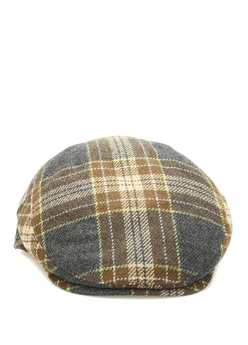 Kahverengi Ekose Desenli Erkek Yün Kaşmir Şapka