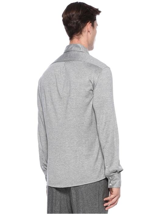 Slim Fit Gri İpek Gömlek