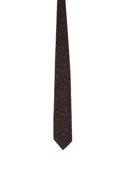 Kahverengi Şal Desenli Yünlü Kravat