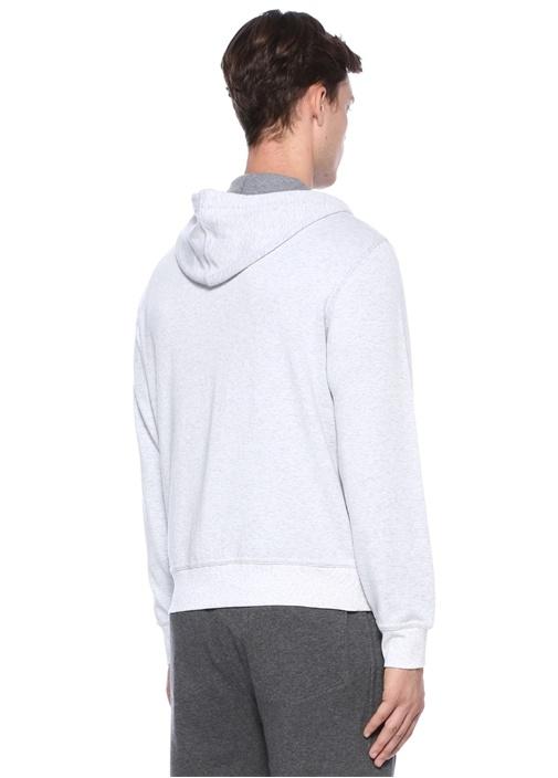 Gri Melanj Kapüşonlu Fermuarlı Sweatshirt