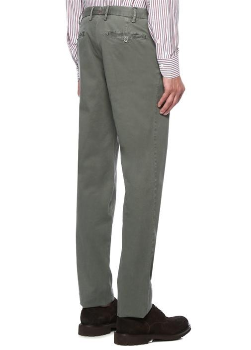 Slim Fit Yeşil Aksesuar Detaylı Kanvas Pantolon