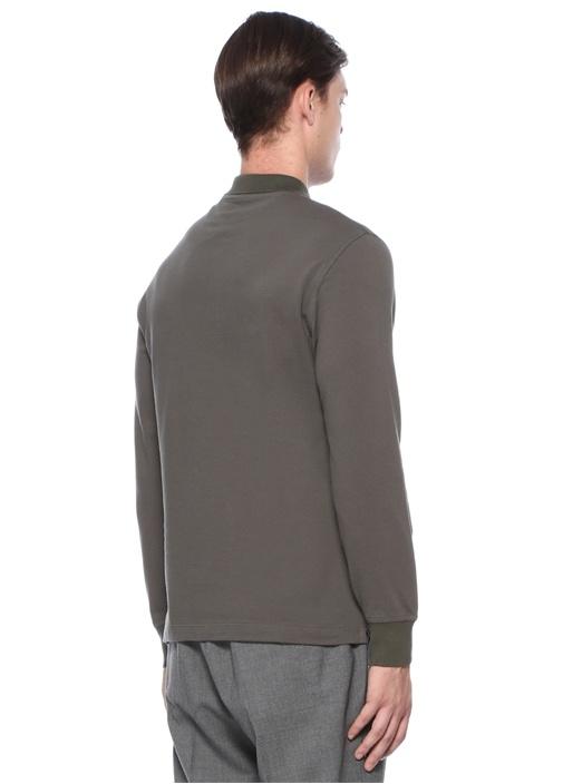 Haki Polo Yaka Düğme Kapatmalı Sweatshirt