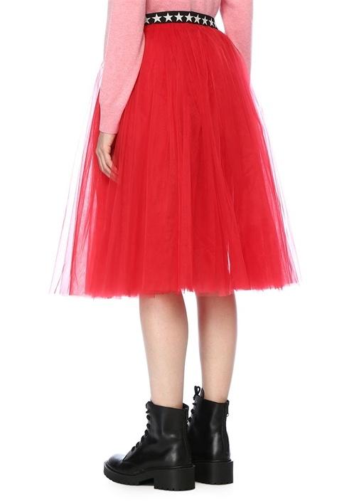 Jen Kırmızı Beli Yıldızlı Midi Tütü Etek
