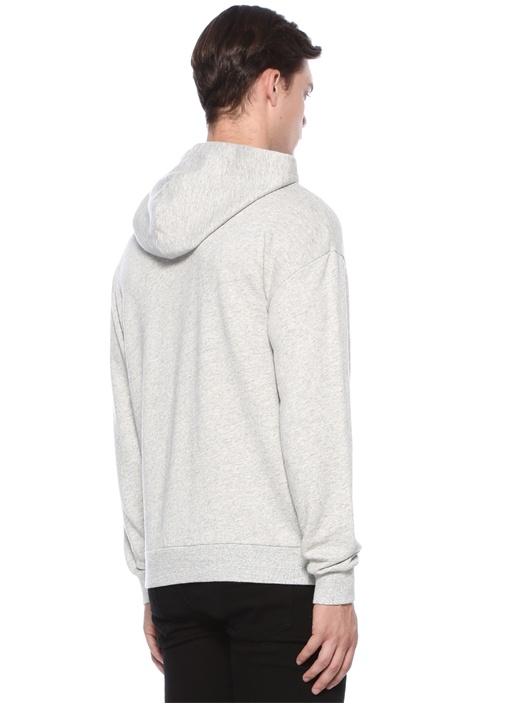 Gri Melanj Kapüşonlu Baskılı Sweatshirt