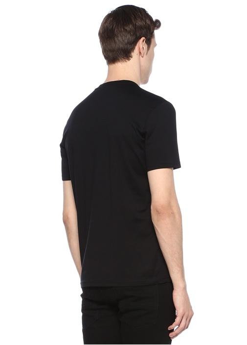 Slim Fit Siyah Bisiklet Yaka Baskılı Basic T-shirt