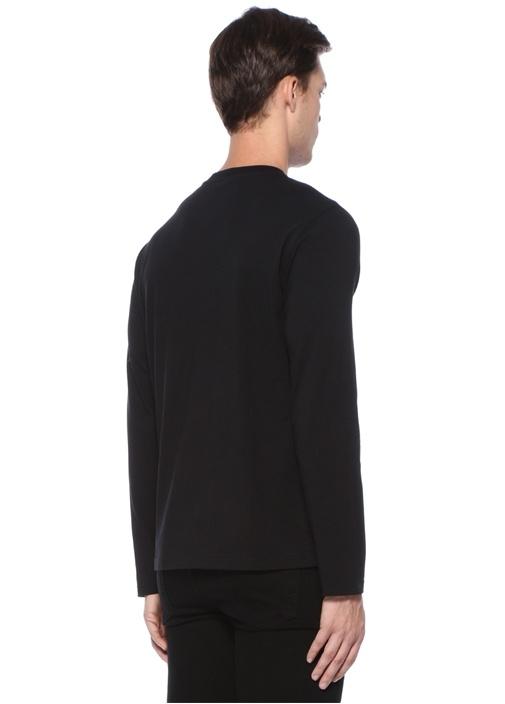 Siyah Baskılı Nakışlı Uzun Kollu T-shirt