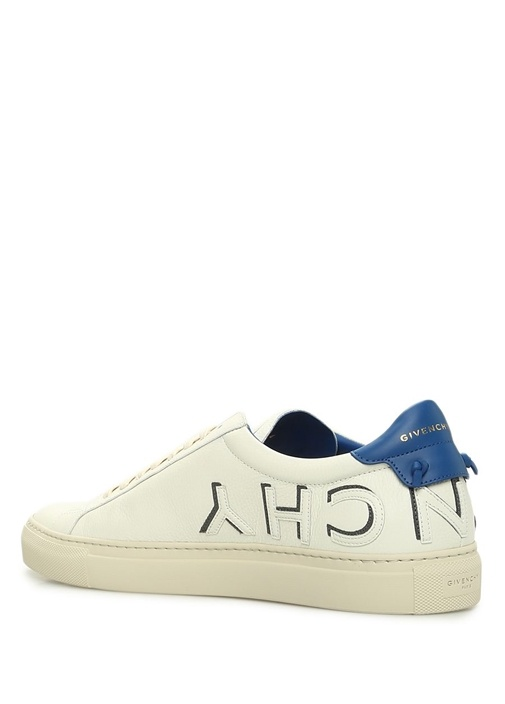 Beyaz Mavi Logo Patchli Erkek Deri Sneaker
