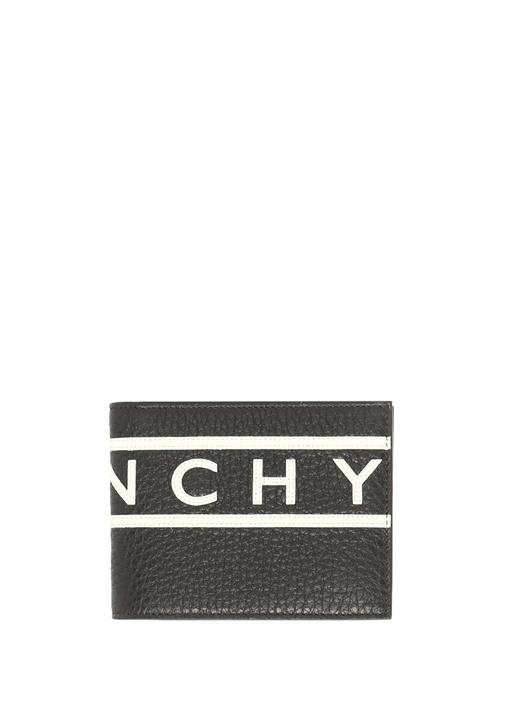 Siyah Dokulu Şerit Logolu Erkek Deri Kartlık