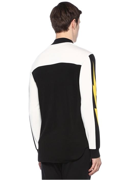 Siyah Beyaz Dik Yaka Baskılı Sweatshirt