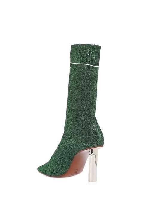 Yeşil Logo Baskılı Simli Çorap Formlu Kadın Bot