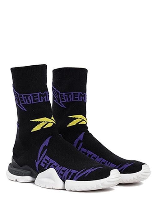 Metal Siyah Logo Jakarlı Kadın Çorap Sneaker