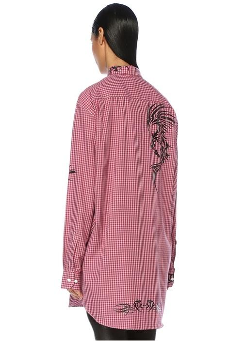 Kırmızı Ekoseli Baskılı Cepli Uzun Gömlek