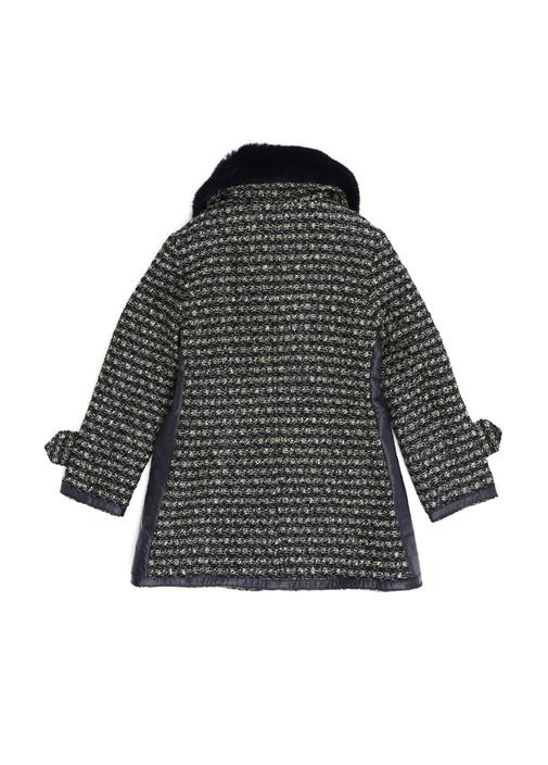 Lacivert Yaka Detaylı Kız Çocuk Tweed Mont