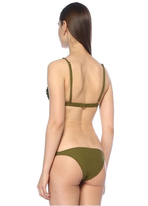 Feline Haki Fırfırlı Bikini Üstü