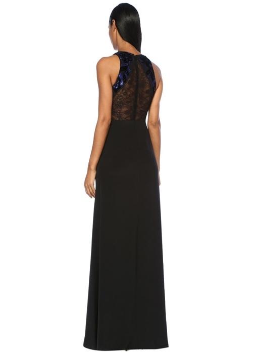 Siyah Çiçek İşlemeli Dantelli Maksi İpek Elbise