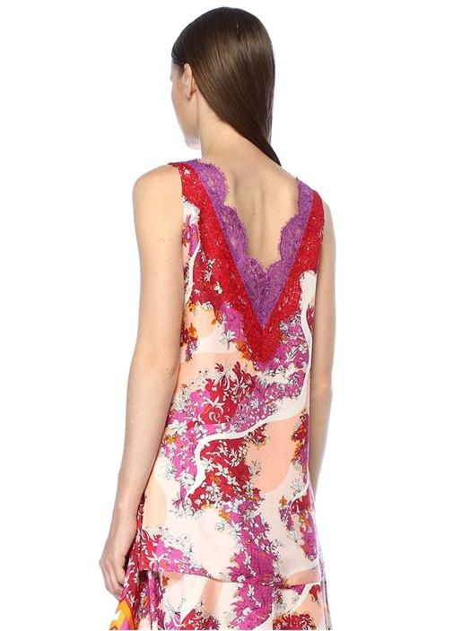 Turuncu Önü Arkası V Yaka Çiçekli İpek Bluz