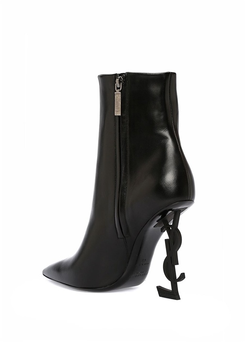 Opyum Siyah Logolu Topuklu Kadın Deri Bot