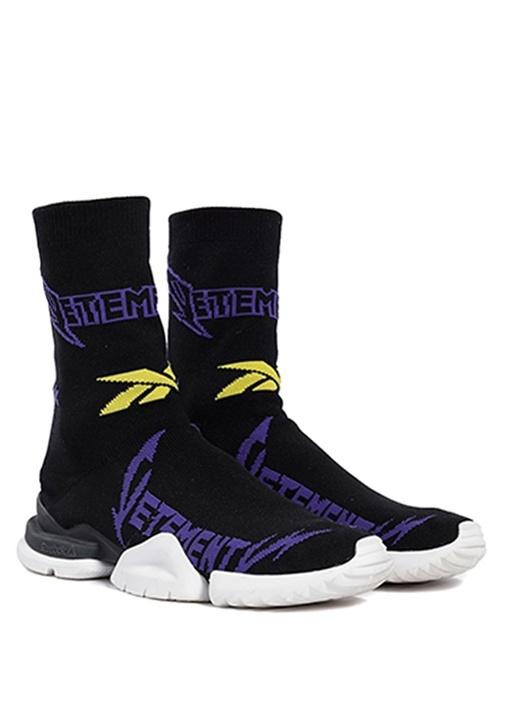 Metal Siyah Logo Jakarlı Erkek Çorap Sneaker