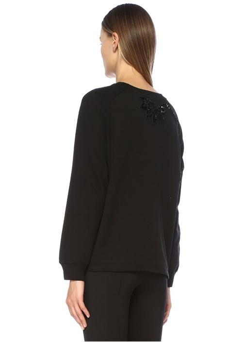 Hemel Siyah İşlemeli Reglan Kol Sweatshirt
