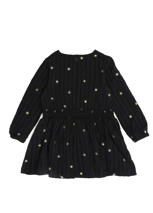 Siyah Simli Yıldız Baskılı Kız Çocuk İpek Elbise