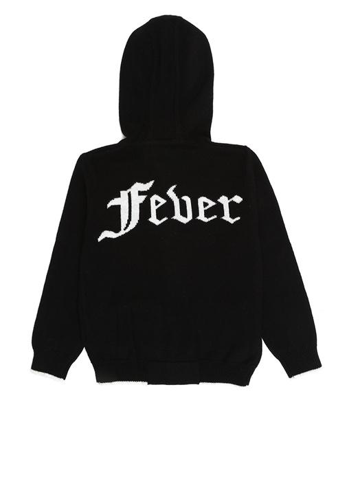 Fever Siyah Kapüşonlu Fermuarlı Erkek Çocuk Hırka