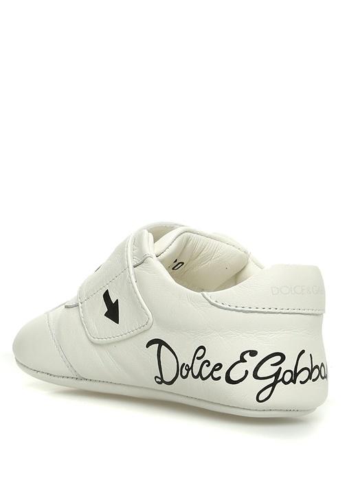 Beyaz Baskılı Patchli Deri Unisex Ayakkabı