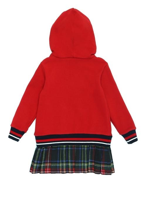 Kırmızı Kapüşonlu Ekose Detaylı Kız Çocuk Elbise