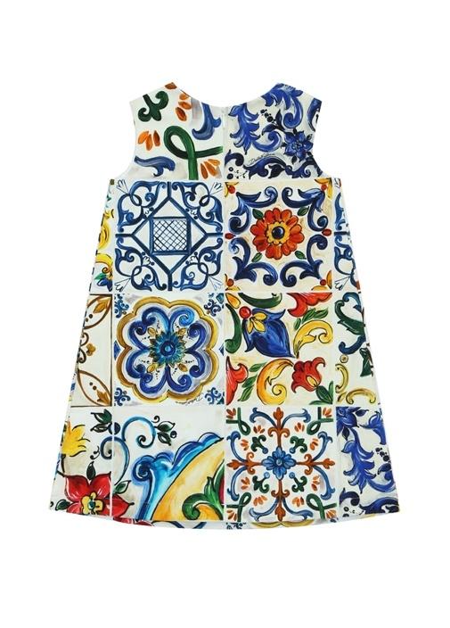Beyaz Çini Baskılı Kız Çocuk Elbise