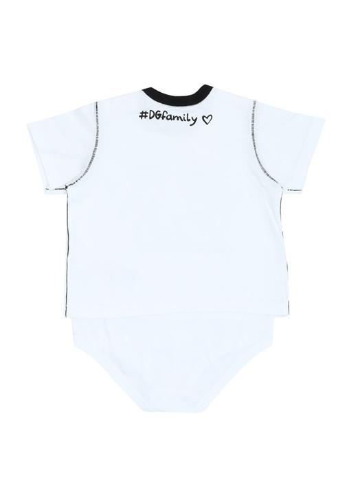 Beyaz Karakter Baskılı Patchli Erkek Bebek Body