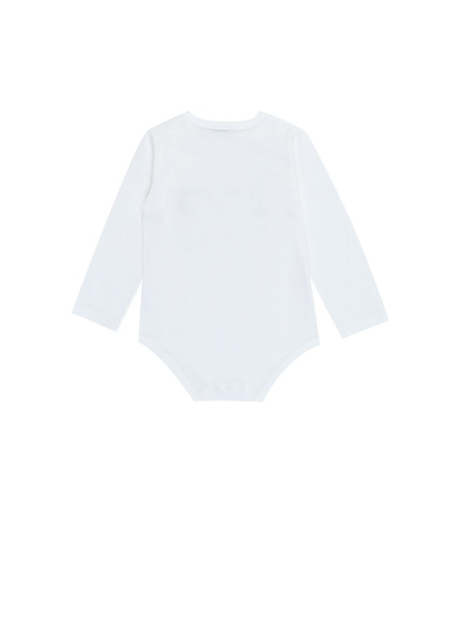 Beyaz Logo Baskılı Kız Bebek Body