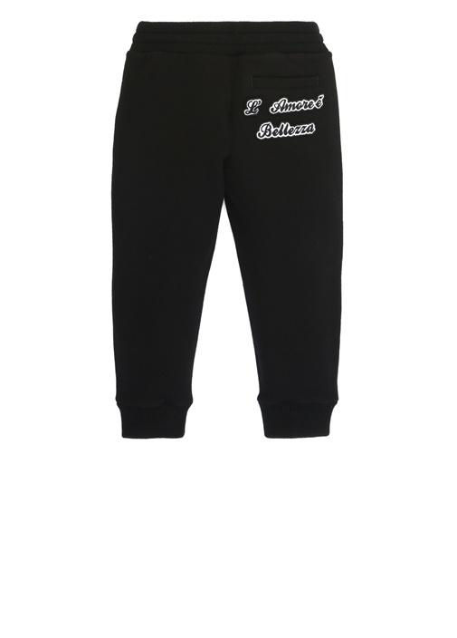 Siyah Logo Patchli Erkek Çocuk Jogger Eşofman Altı