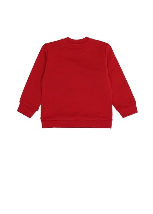 Kırmızı Bisiklet Yaka Patchli Kız BebekSweatshirt