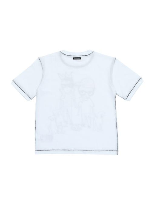 Beyaz Dekoratif Dikişli Erkek Çocuk T-shirt
