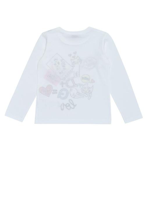 Beyaz Bisiklet Yaka Baskılı Kız Çocuk T-shirt
