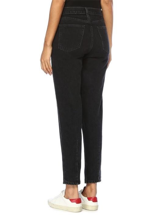 Ash Siyah Mom Fit Yüksek Bel Nakışlı Jean Pantolon