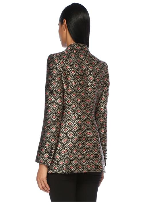 Pembe Siyah Kırlangıç Yaka Mikro Çiçekli Ceket