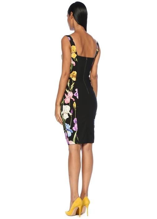 Siyah Kalp Yaka Çiçekli Midi İpek Elbise