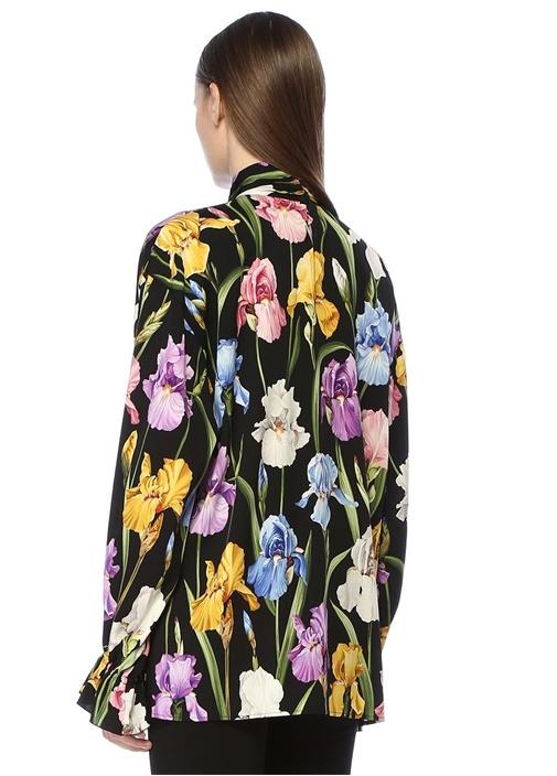 Siyah Çiçekli Yakası Bağcıklı İpek Bluz