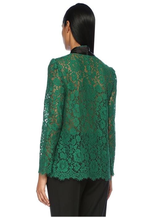 Yeşil Siyah Yakası Bağcıklı Dantelli Bluz