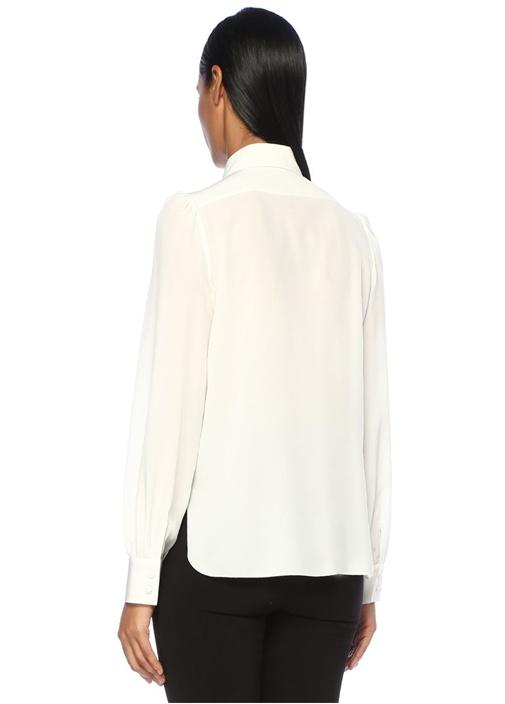Beyaz Yakası Fiyonk Detaylı İpek Gömlek