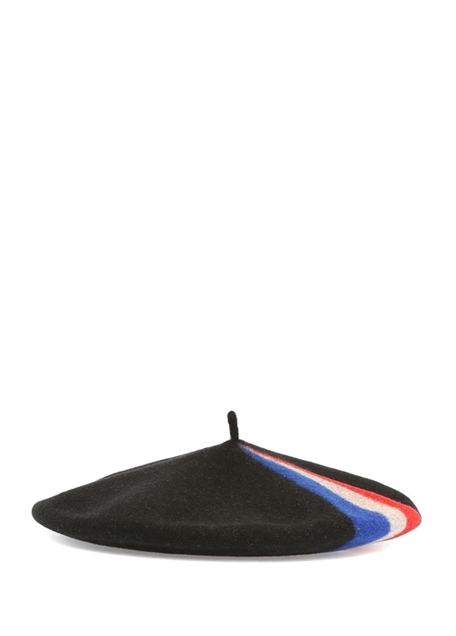 Siyah Çizgi Detaylı Kadın Yün Şapka