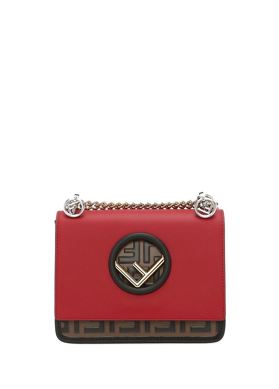 Fendi Kan Kırmızı Mini Kadın Deri Çanta