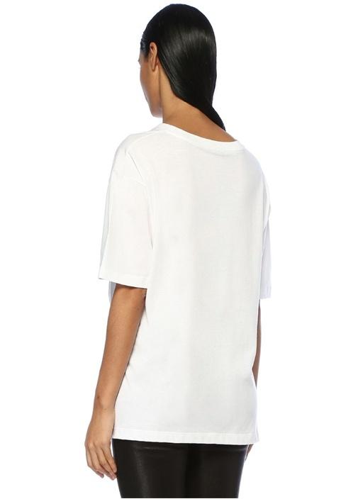 Beyaz Baskılı Logolu T-shirt