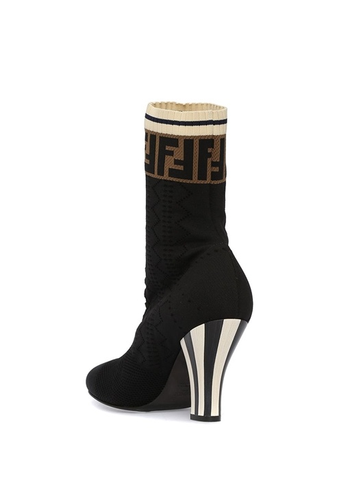 Siyah Logo Jakarlı Çorap Formlu Kadın Bot
