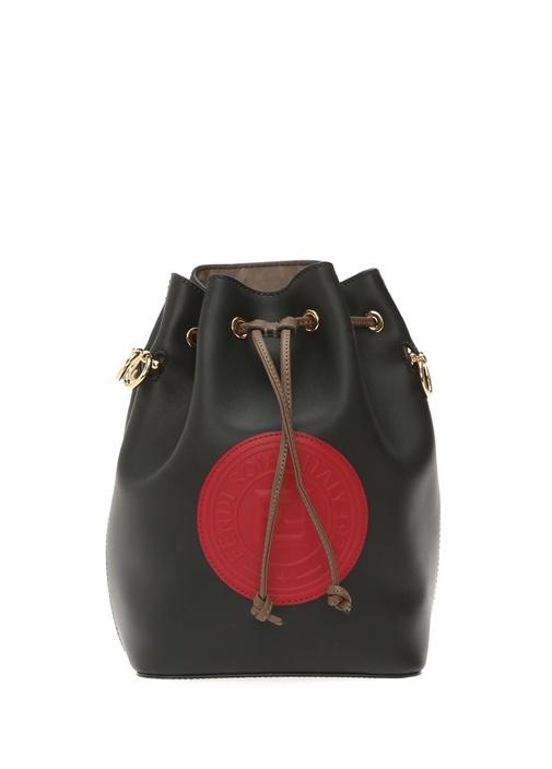 Mon Tresor Siyah Logolu Büzgülü Kadın Deri Çanta