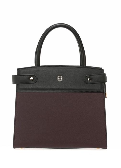 Bordo Siyah Logolu Kadın Çanta