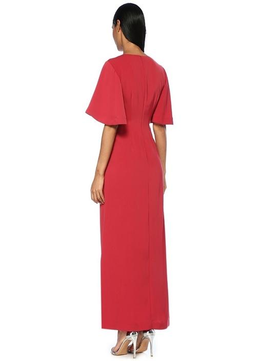 No Love Kırmızı V Yaka Düğümlü Maxi Kokteyl Elbise