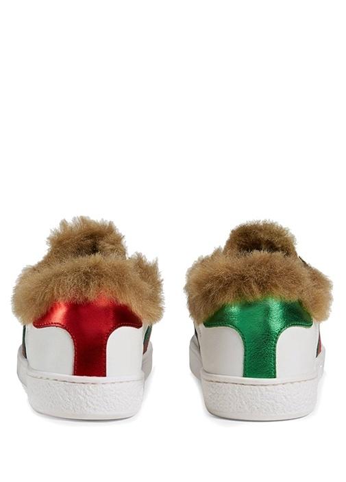 Beyaz Peluş Detaylı Unisex Çocuk Deri Sneaker