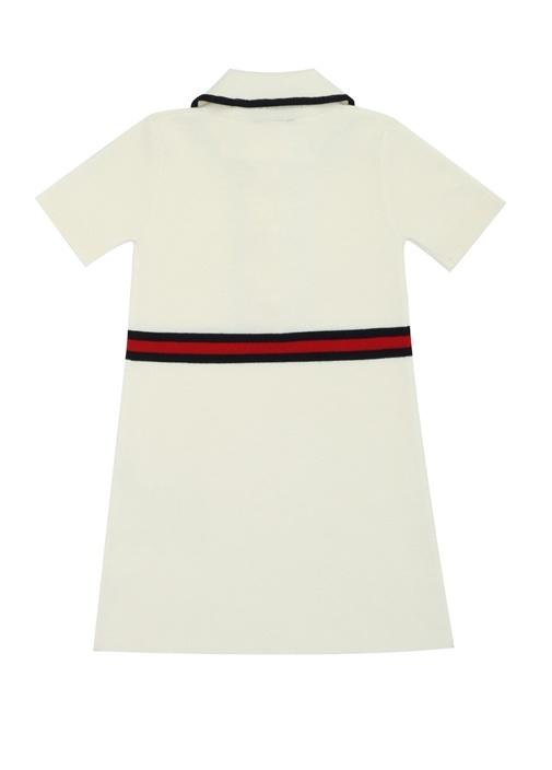 Ekru Şerit Detaylı Kız Çocuk Kaşmir Elbise